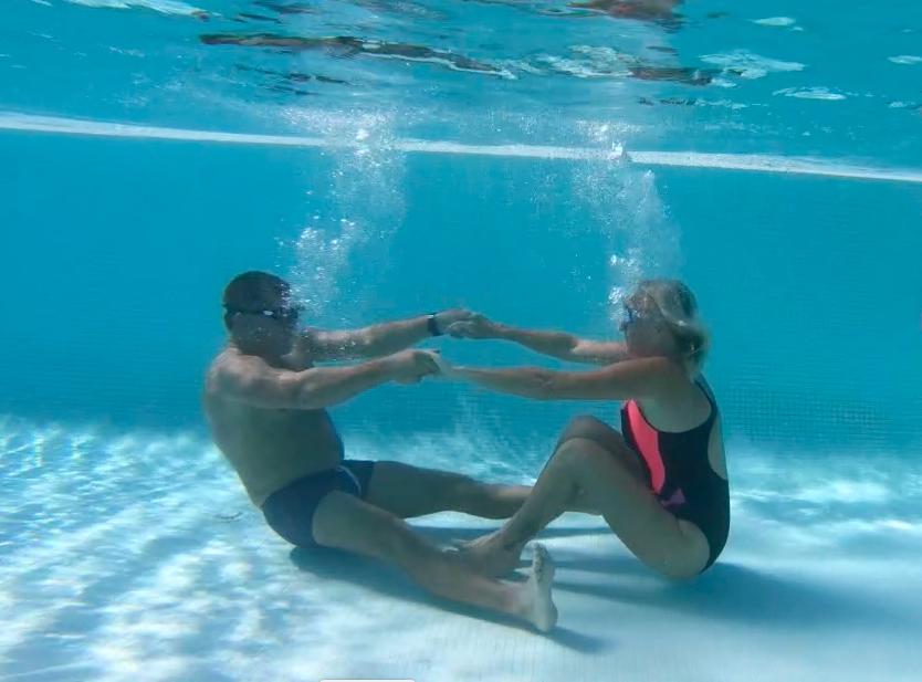 Catherine Proteau et aquaphobe sous l'eau
